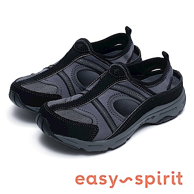 Easy Spirit 7ARBITRARY-舒適包覆拼接休閒鞋-黑色