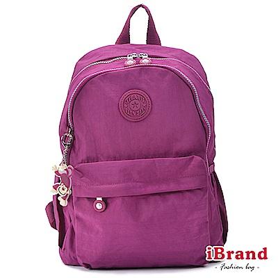 iBrand後背包 簡約素色超輕盈尼龍雙層後背包-羅蘭紫