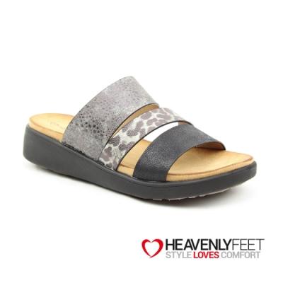 【HEAVENLY FEET】英國舒適品牌花卉波點拼接印刷休閒拖鞋-MONA