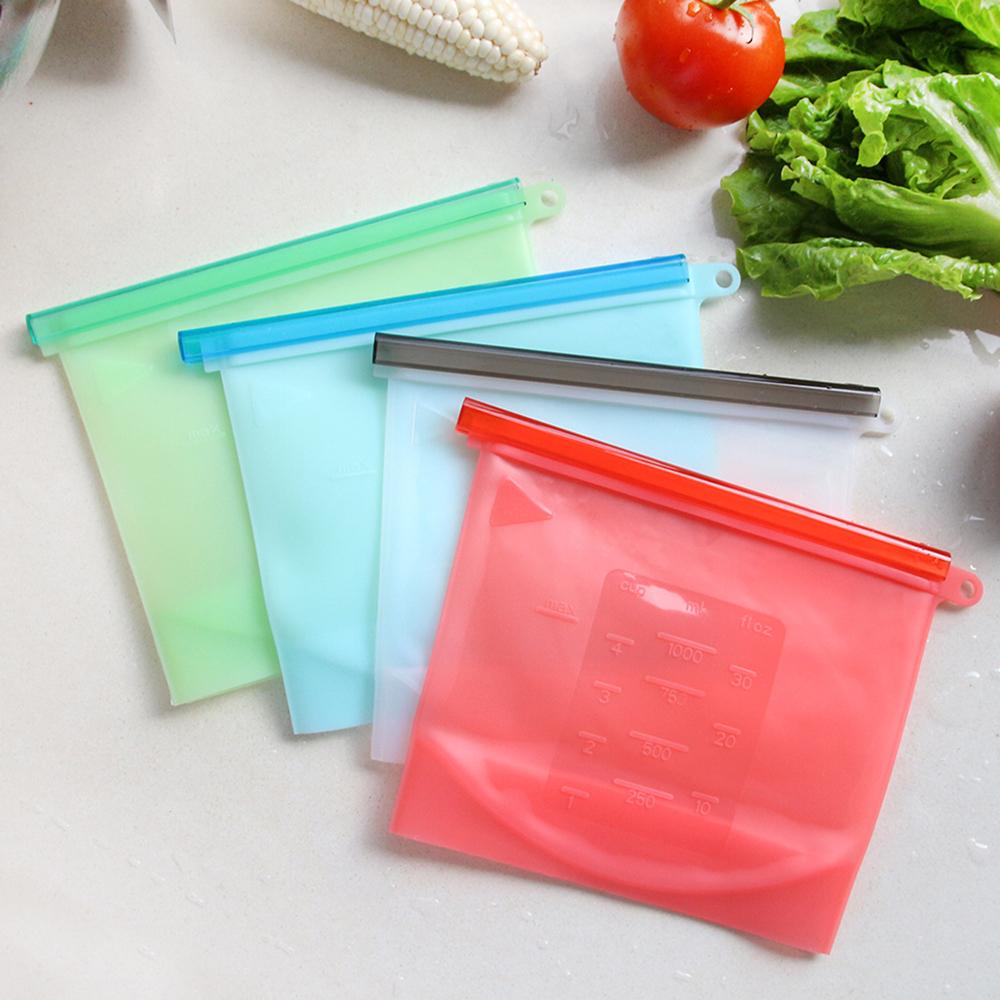 【日本KOMEKI】可微波食品級白金矽膠食物袋/保鮮密封袋1000ml- 六入組(顏色隨機)