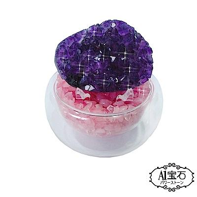A1寶石  頂級晶鑽烏拉圭粉水晶補運聚寶盆(含開光)