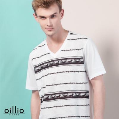 oillio歐洲貴族 超柔抗皺涼感V領T恤 特色創意穿著 黑色
