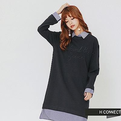 H:CONNECT 韓國品牌 女裝-層次拼接電繡文字洋裝-藍