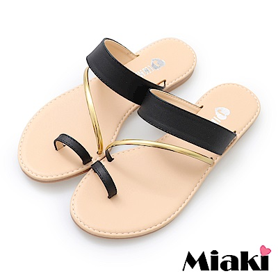 Miaki-涼鞋韓系時尚平底涼拖鞋- 黑色