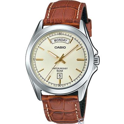 CASIO  俐落型男時尚腕錶(MTP-1370L-9A)米色/39.8mm