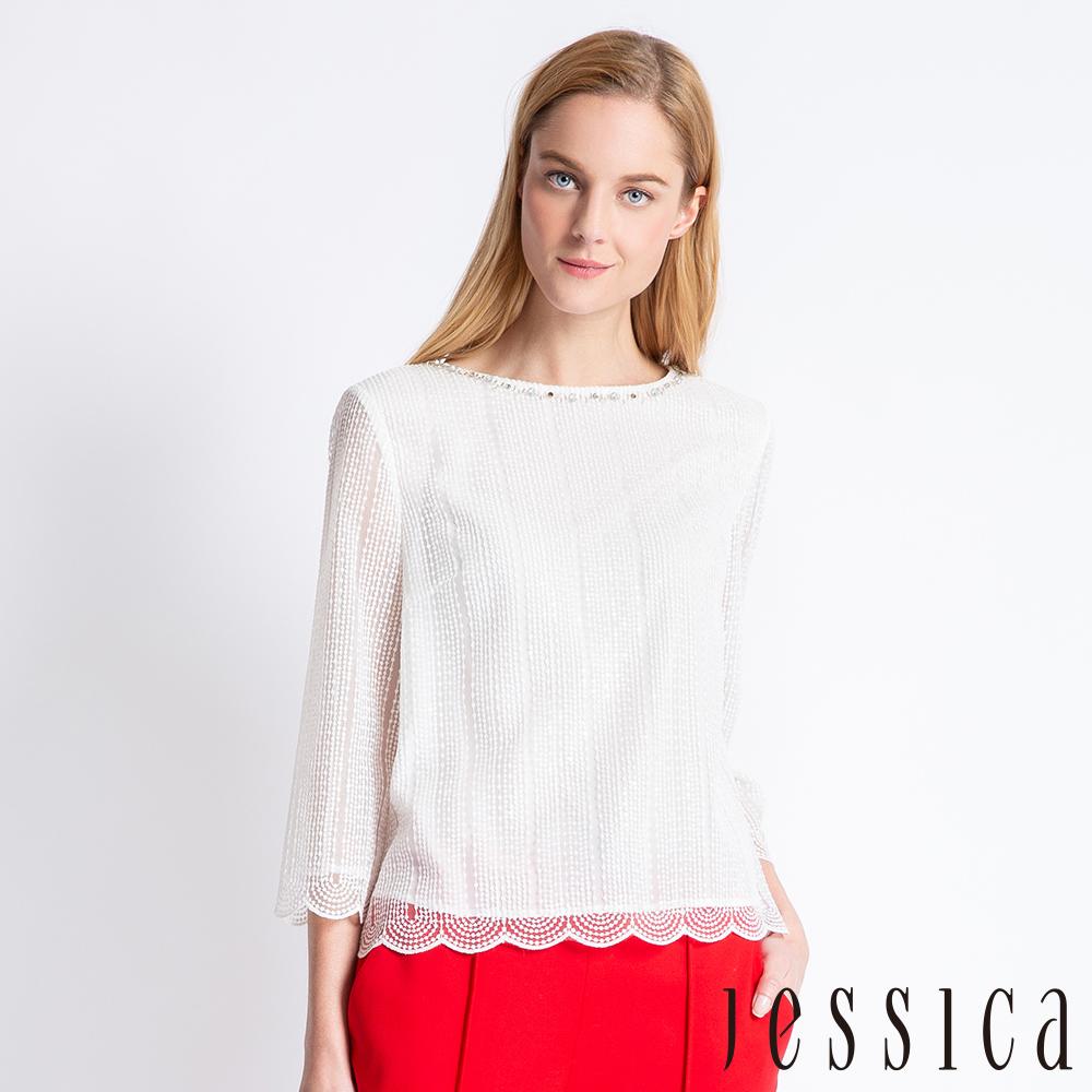 JESSICA - 雅緻微透花邊設計上衣(白) @ Y!購物