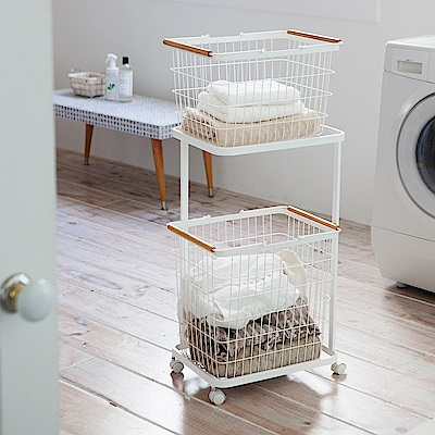 【YAMAZAKI】tosca雙層洗衣籃推車組★置物架/洗衣籃/收納籃
