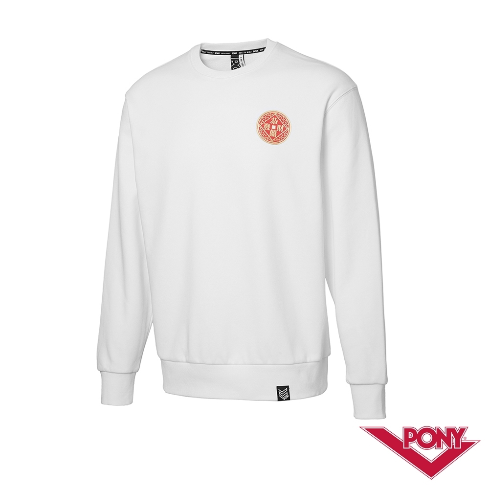 【PONY】恭喜發財圓領T恤 大學T 情侶款 女款 男款 白色