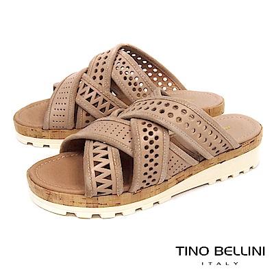 Tino Bellini 義大利進口造型鞋帶交錯厚底涼拖鞋_ 膚