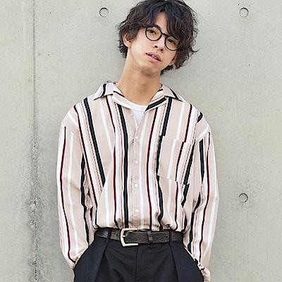長袖襯衫開領素色條紋格紋(20色) ZIP日本男裝