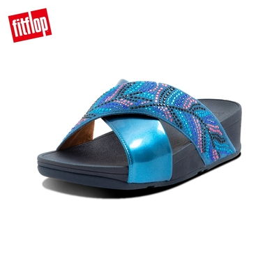 FitFlop LULU CRYSTAL FEATHER SLIDES 水鑽交叉涼鞋 女(海藍色)