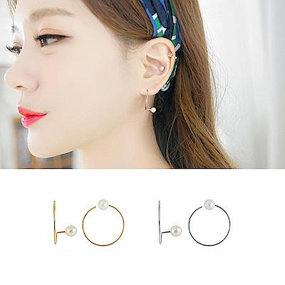 梨花HANA  韓國S925銀几何國度珍珠細緻漩渦耳環