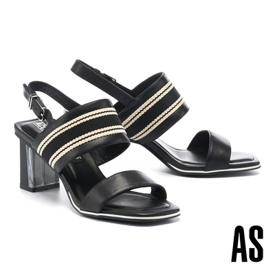 涼鞋 AS 質感魅力條紋織帶一字方頭高跟涼鞋-黑