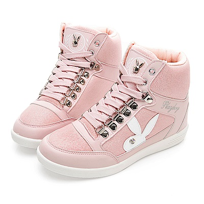 PLAYBOY 璀璨亮蔥內增高休閒鞋-粉-Y522399