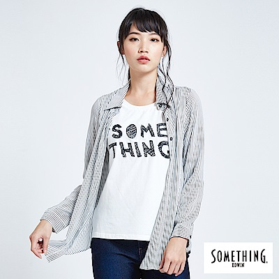 SOMETHING 亞維儂 假兩件直條紋長袖襯衫-女-白色