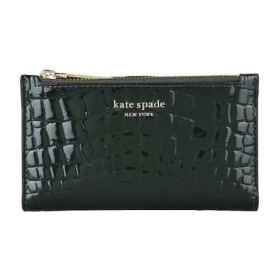 Kate Spade Sylvia金字LOGO鱷魚紋漆皮6卡釦式零錢包(墨綠)