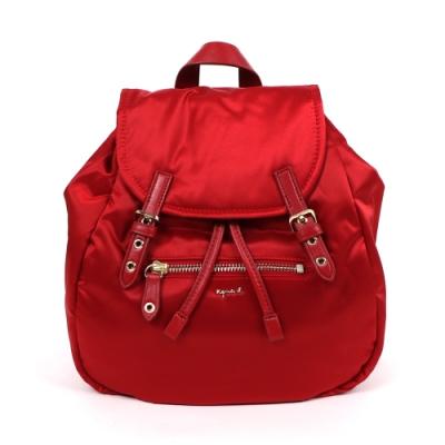 agnes b. Voyage 小型緞面尼龍抽繩後背包 (紅)