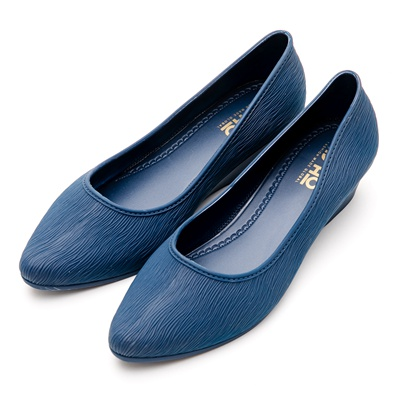 River&Moon防水鞋-晴雨二穿Q軟髮絲紋尖頭楔型跟鞋-藍