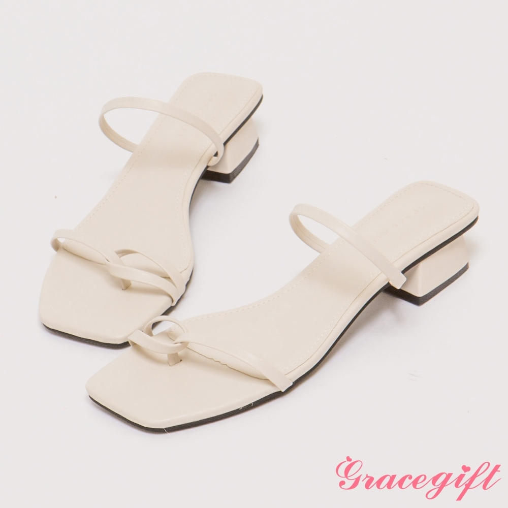 Grace gift-雙細帶套趾低跟涼拖鞋 白