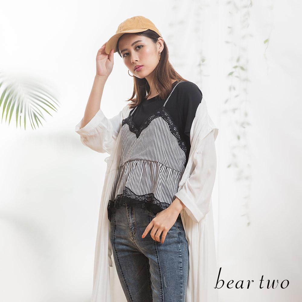 beartwo 蕾絲小可愛假兩件條紋上衣(二色)