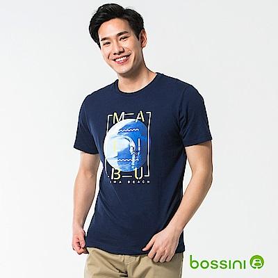 bossini男裝-印花短袖T恤48海藍