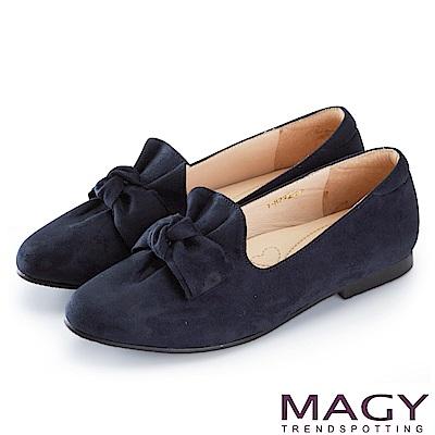 MAGY 復古上城女孩 抓皺蝴蝶結平底鞋-藍色