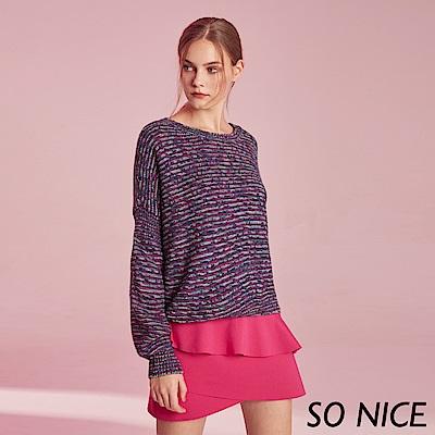 SO NICE俏麗燈籠袖混紡針織上衣 @ Y!購物