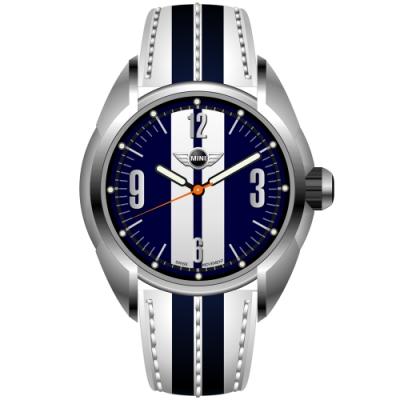 MINI Swiss Watches 石英錶 38mm 藍白相間錶面 藍白條紋真皮錶帶