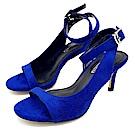 Cinderella Fashions 超小尺碼簡約不對稱繫踝中跟涼鞋-寶藍色