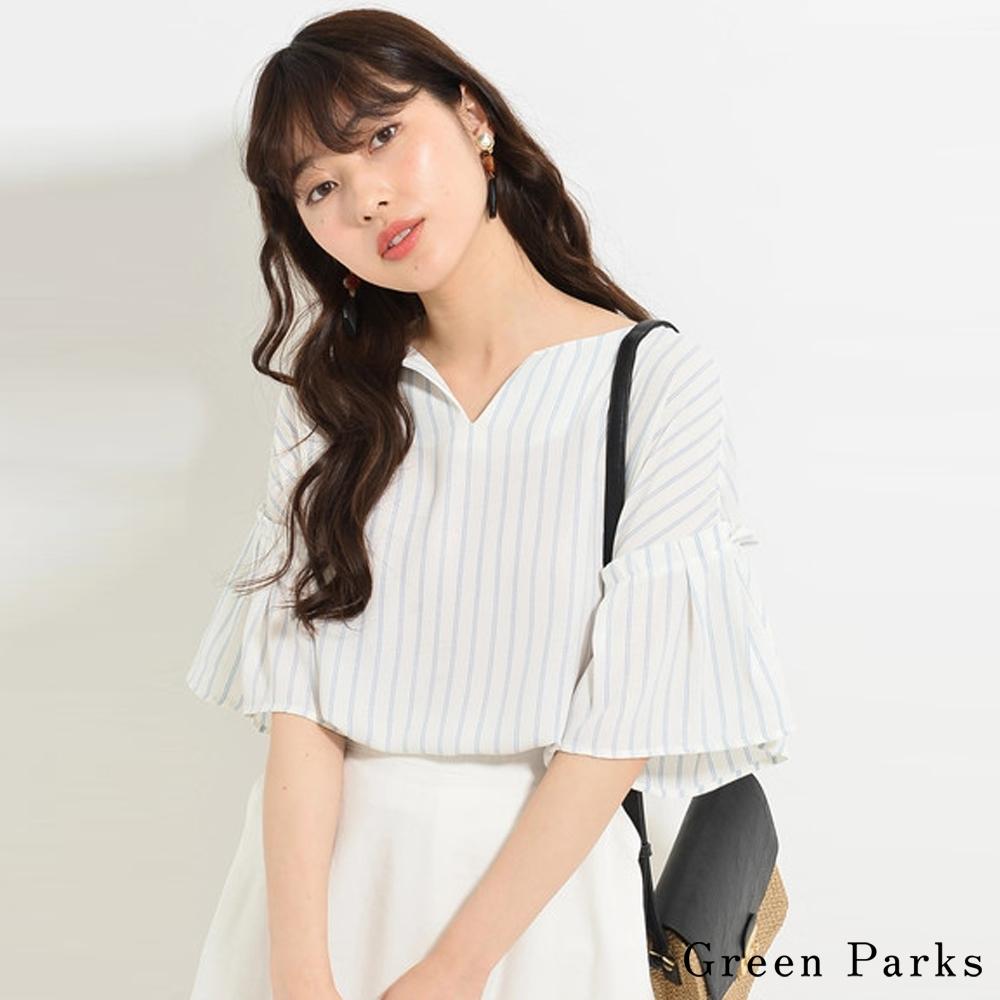 Green Parks   V領直條/素面喇叭袖上衣