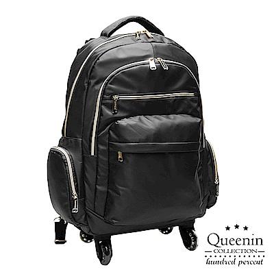 DF Queenin流行 - 大寬口可拆式360度滾輪休閒拉桿後背包(大)-黑色