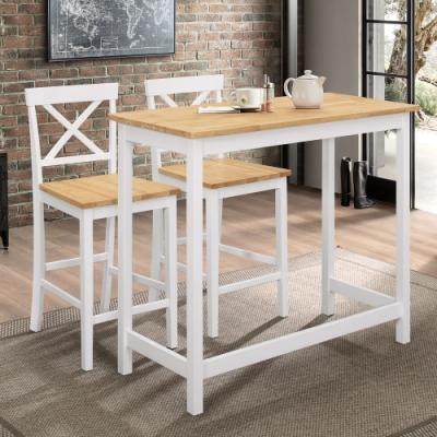 Boden-朵恩3.7尺白色實木吧台/休閒桌椅組合(一桌二椅)-108x48x91cm