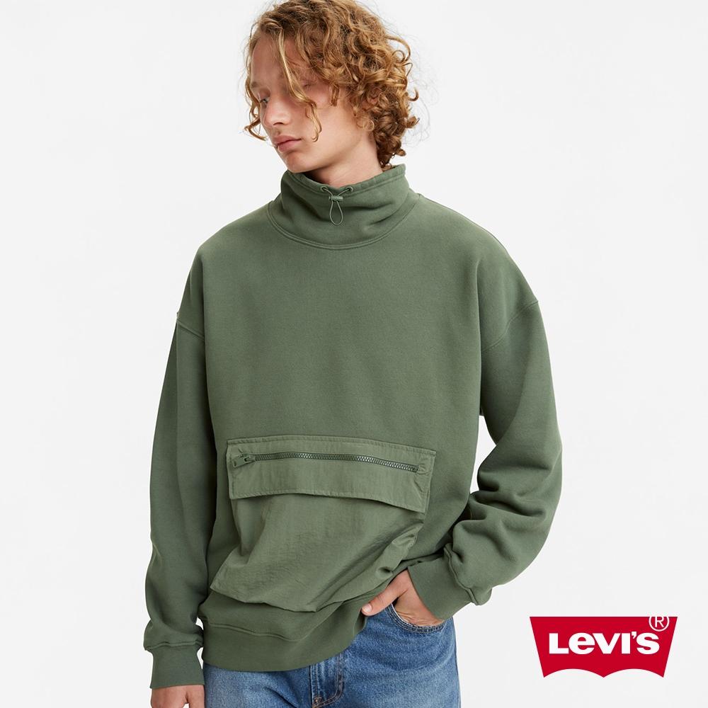 Levis 男款 機能系工裝大學T 大口袋收納 Oversize寬鬆版型 橄欖綠