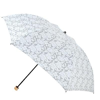 2mm 風雅扶桑花 色膠輕量四折手開傘(灰色)