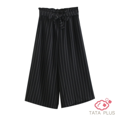鬆緊腰條紋八分寬褲 TATA PLUS-(L~2XL)