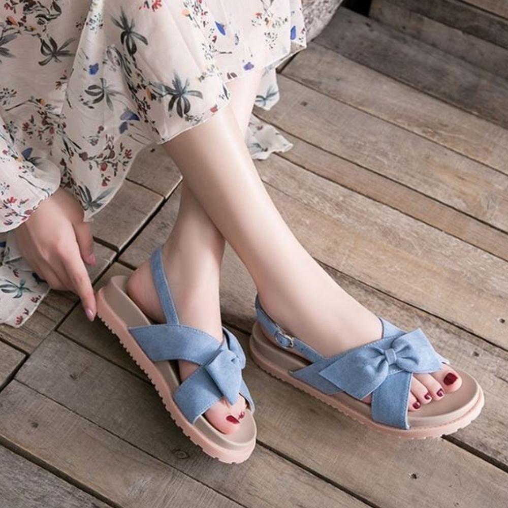 LN 現+預 溫柔唯美蝴蝶結交叉微厚平底涼鞋-2色 (藍色)