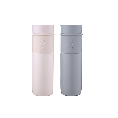 WOKY 沃廚 真瓷系列-時尚簡約陶瓷保溫瓶450ML(2色可選)
