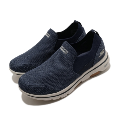Skechers 休閒鞋 Go Walk 5-Brutus 襪套 男鞋 穩定 緩震 透氣瑜珈鞋墊  懶人鞋 輕量 藍 棕 216027NVBR