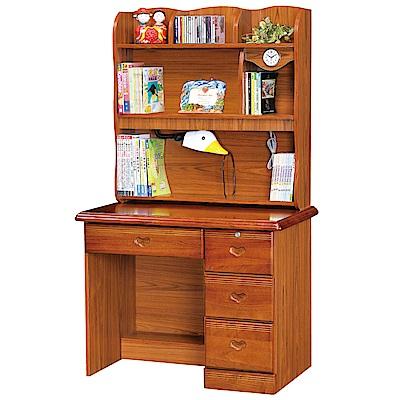 綠活居 哥斯時尚3.2尺實木書桌/電腦桌組合(上+下座)-96x60x162cm-免組