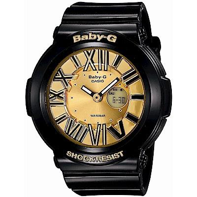 BABY-G 霓虹繽紛夜光羅馬簡約休閒錶(BGA-160-1B)-金x黑/43mm