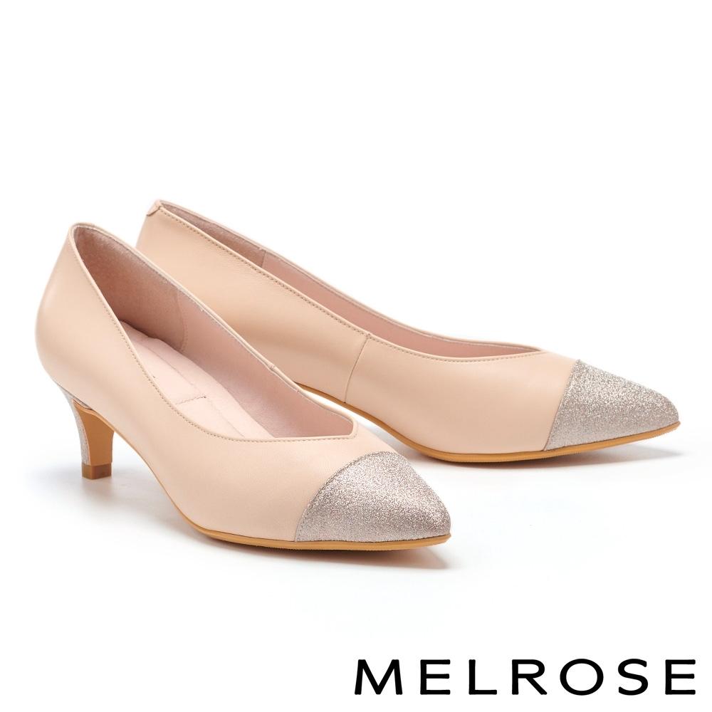高跟鞋 MELROSE 華麗優雅金蔥拼接造型尖頭高跟鞋-米
