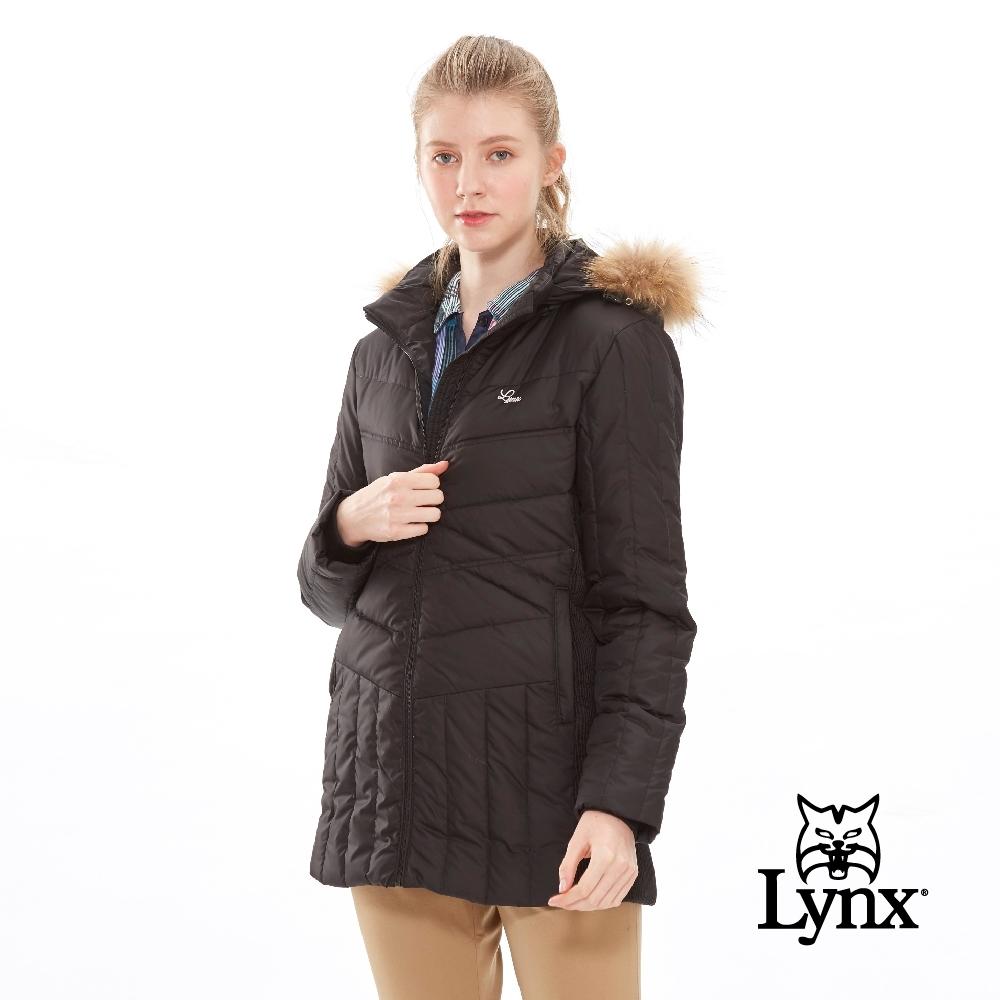 【Lynx Golf】女款可拆式毛條長版保暖羽絨長袖外套-黑色
