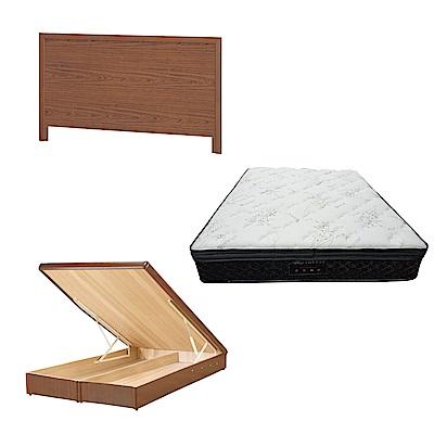綠活居 梅可6尺雙人加大床台三式組合(床頭片+後掀床底+正三線乳膠獨立筒)五色可選