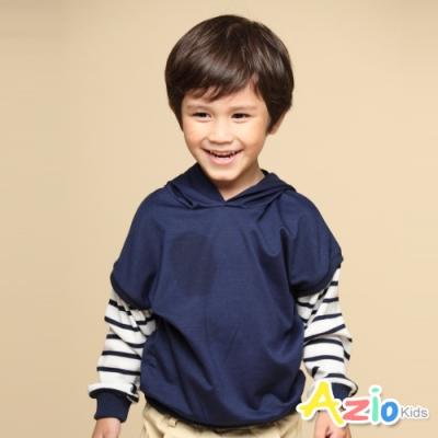 Azio Kids 男童 上衣 假兩件條紋接袖連帽上衣T恤(藍)