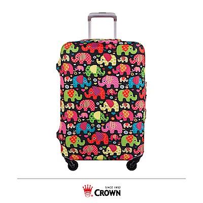 CROWN 皇冠 行李箱保護套 24吋 大象繽紛