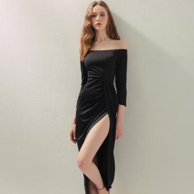 AIR SPACE 一字領曲線抓皺開衩洋裝(黑)