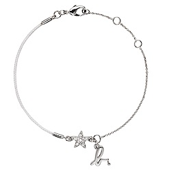 agnes b. 星星b棉繩手環(銀色)