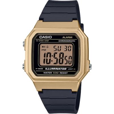CASIO 復古方形數位電子腕錶-金x黑(W-217HM-9A)/34mm