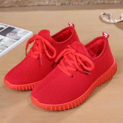 韓國KW美鞋館 單色潮流綁帶款舖絨軟底鞋-紅