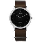 CITIZEN 星辰表 光動能阿拉伯數字時標日本機芯牛皮手錶-黑x咖啡/40mm